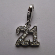 Sterling Silver 21st Birthday Cubic Zirconia Clip-on Charm